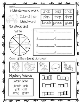 Word Work: R Blends Review