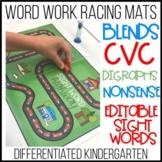 Word Work Racing Mats- Editable Sight Words, CVC, Blends a