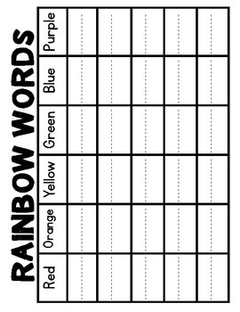 Word Work: Rainbow Words