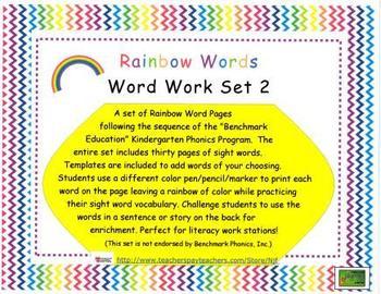 Word Work Rainbow Words-Benchmark Series Sight Words