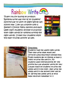 Word Work: Rainbow Write National Geographic Reach for Reading 1st Gr. Words All