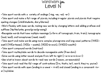 Word Work Resource for Levels A-V
