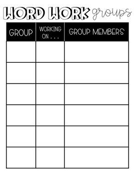 Word Work Resources