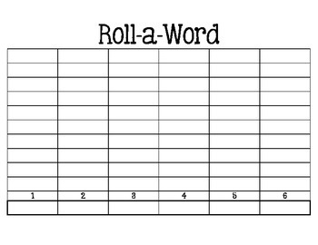 Word Work: Roll-a-Word