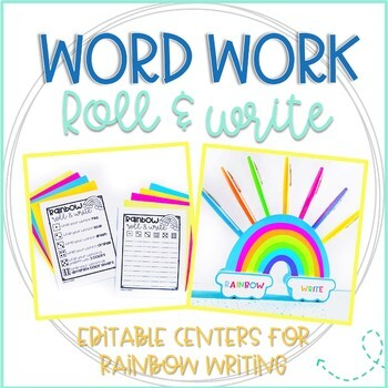 Editable Word Work Rainbow Writing & Roll and Write Dice Games