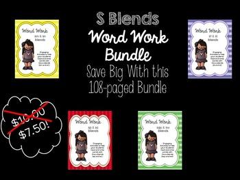 Word Work:  S Blends Bundle (sm/sn, squ/sw, st/sl, sp/sc)