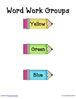 Word Work Schedule and Group Posters