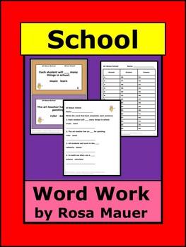 Word Work School Theme Vocabulary Activity