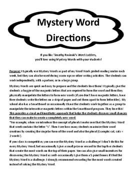 Word Work: Seasonal Mystery Word Pack