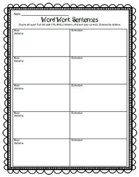 Word Work Sentence Practice