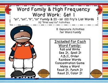 "Word Work: Set 1 (""at"", ""an"", ""it"", ""ot"" and 1st 20 H.F.W)"