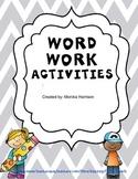 Word Work Short Vowel Activities