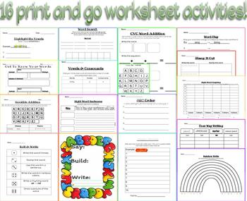 Word Work Practice Sheets