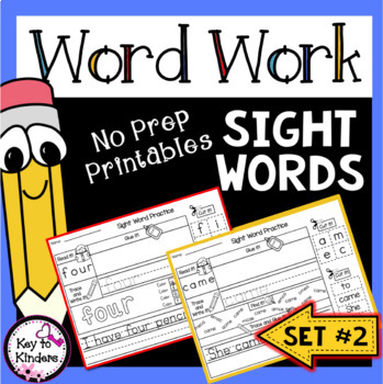Word Work: Sight Words Printables Set 2 - Primer