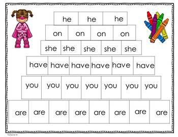 Kindergarten- Special Education - Sight Words  Set 4 ( Super Hero Theme)