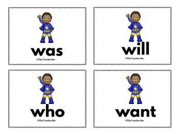 Kindergarten -Special Education -Sight Word  Set 8  (Super Hero Themed)