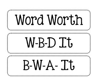 Word Work Signs