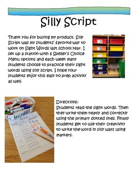 Word Work: Silly Script National Geographic Reach for Reading 1st Gr. Words All