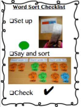 Word Work Sort Checklist