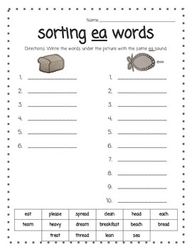 Word Work - Sorting Words with ea.