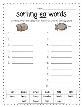 Word Work - Sorting Words with ea.