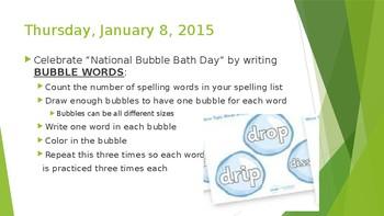Word Work Spelling Activities