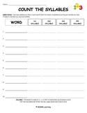 Word Work Spelling Activity - Count the Syllables