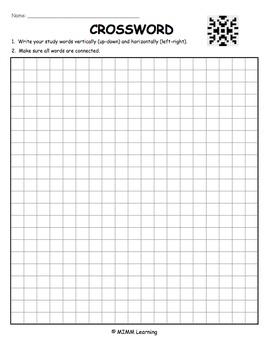 Word Work Spelling Activity - Crossword Puzzle