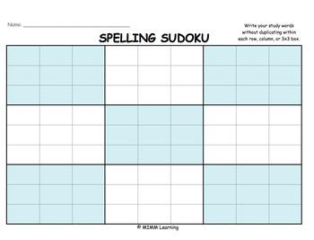 Word Work Spelling Activity - Spelling Sudoku
