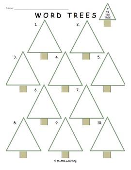 Word Work Spelling Activity - Word Trees