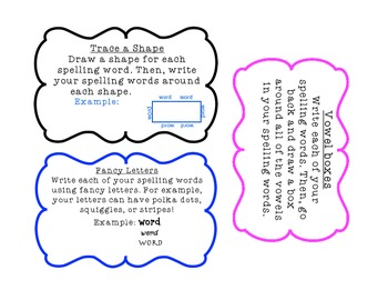 Word Work (Spelling) Card Activites