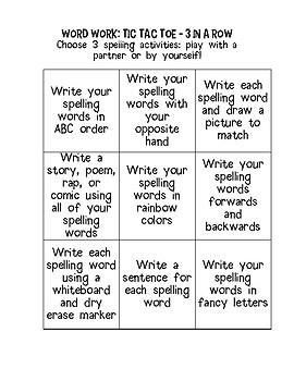 Word Work Spelling Choice Board