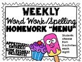 Word Work, Spelling Homework Menu of options