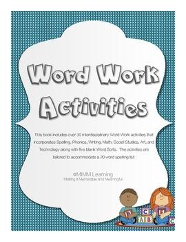 Word Work-Spelling Interdisciplinary Activities (over 30 activities included)