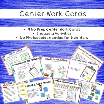 Word Work-Spelling Practice Activities. No-Prep Centers and Printables