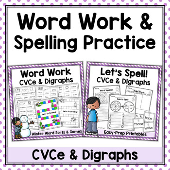 Winter Word Work & Spelling Bundle - CVCe Words & Digraphs