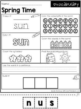 Word Work- Spring Vocabulary