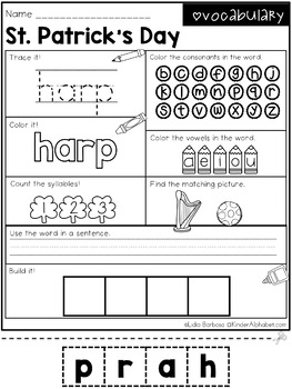 Word Work- St. Patrick's Day Vocabulary