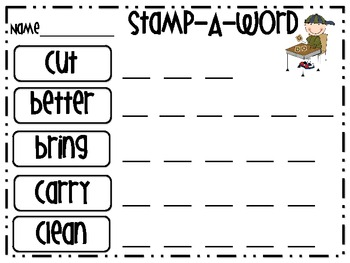 """Word Work """"Stamp-A-Word"""" Dolch Words (3rd Grade)"""