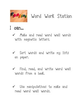Word Work Station- I can...