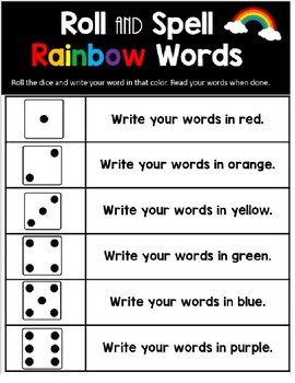 Word Work Station-Roll and Spell Rainbow Words