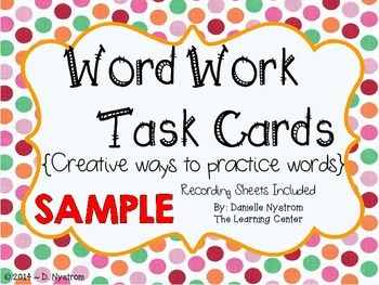 Word Work Task Card SAMPLE