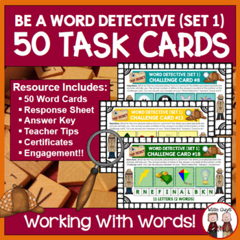 Word Work Task Cards Four Pictures Equals One Word