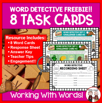 Word Work Task Cards: Four Pictures Equals One Word (8 Car