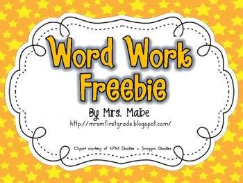 Word Work Task Cards & Recording Sheets Freebie