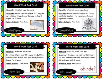 Jubilee's Junction - Word Work Task Cards, Set/16 *Hands-On*