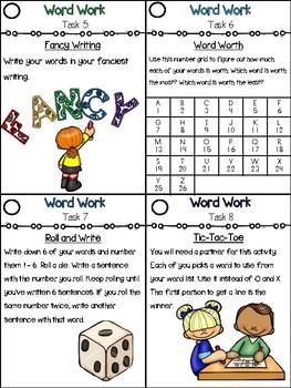 Word Work Task Cards and Bingo Board