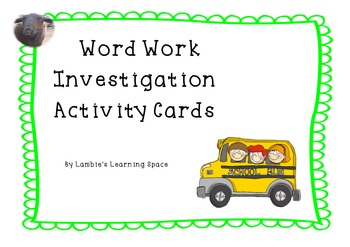 Word Work Task Cards for Independent Spelling/Word Work.