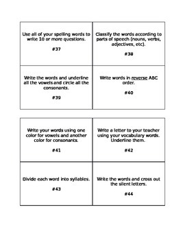 Word Work Task Cards for Spelling, Vocabulary, and Word Work!