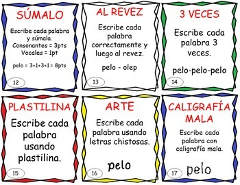 Word Work Task Cards in SPANISH - EDITABLE - great for Daily 5 and Centers